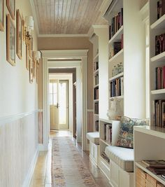 Kick Out Your Boring Hallway Decorating Ideas with These Things : Library Style Hallway Decorating Ideas