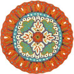Gardenia Lifestyle Collection Orange/Ivory 3 ft. Round Area Rug