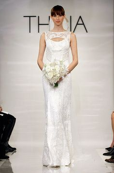 Guippure lace sleeveless gown hand embroidered with  crystals and pearls. Theia, Fall 2014