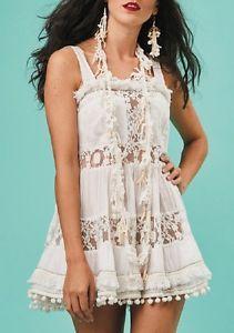 65e3a39e99e0 Antica Sartoria Positano 100% Cotton Cotone Abito Dress Bianco taglia M