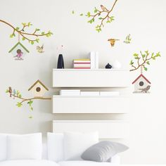 4 Branches & Bird Houses Wall Stickers
