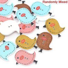 Wood Sewing Buttons Scrapbooking Bird Shape 2 Holes Mixed 26x23mm,100PCs,dorabeads