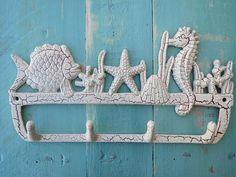 Beach, Aquatic, Seascape, fish, seahorse, coral reef, wall hook, towel hook, ocean themed