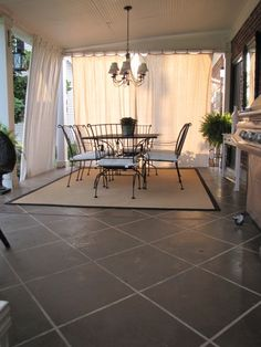 Patio Reveal beadboard ceiling and stained concrete?now, who wants to implement?beadboard ceiling and stained concrete?now, who wants to implement? Stained Concrete, Concrete Patio, Painting Concrete, Concrete Floor, Back Patio, Backyard Patio, Diy Patio, Small Patio, Cortinas Gazebo