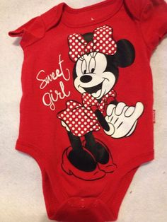 Red Minnie Mouse Print Infant Onsie Creeper T Shirt By Disney Baby 0-3 Month #Disney #Everyday