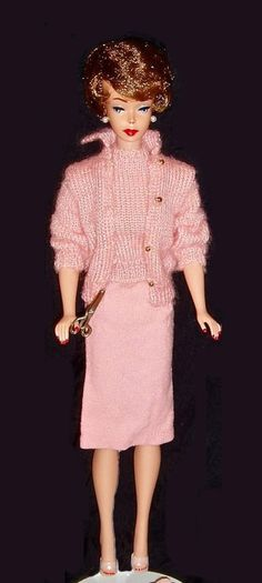 """BROWNETTE Bubble 1961 only wearing """"Knitting Pretty"""" HTF pink version from 1963 - I had this outfit."""