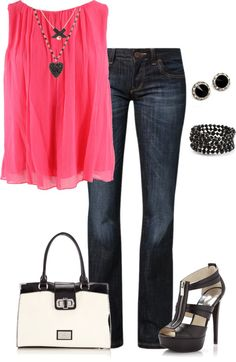 """Black & pink"" by mtoomey ❤ liked on Polyvore"