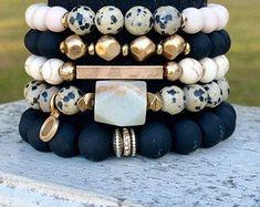 Chunky Elastic Bracelet, Gemstone Bracelet, Boho Jewelry, Dalmatian Bead Bracelet, Gold Bead Bracele - Jewelry Making - Bracelets Diy, Gemstone Bracelets, Gemstone Jewelry, Handmade Bracelets, Colorful Bracelets, Diamond Bracelets, Bracelet Set, Diamond Earrings, Stack Bracelets