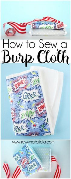 Easy and Adorable Burp Cloth Pattern: This burp cloth is super quick and easy to sew. This is a great project for beginners. Click through for the free pattern and tutorial.   www.sewwhatalicia.com #sewing #burpcloth #baby #sewingtutorial