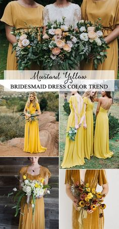 97d05674347 Top 5 Bridesmaid Dress Color Trends for 2019. Mustard Wedding DressesMustard  ...