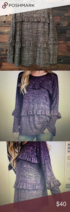 Long sleeve ruffle top Charcoal grey long sleeve lightweight ruffle detail knot top. Stretchy material! 68% polyester 28% rayon 4 % spandex. 2 smalls (0-4) 2 mediums (4-8) 2 large (10-12) Hopely Tops Tees - Long Sleeve