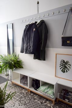 Ideas Clothes Rack Hallway Small Spaces For 2019 Hallway Decorating, Interior Decorating, Ikea Eket, Interior Design Living Room Warm, Ikea Entryway, Front Hallway, Hallway Storage, Halle, Mudroom
