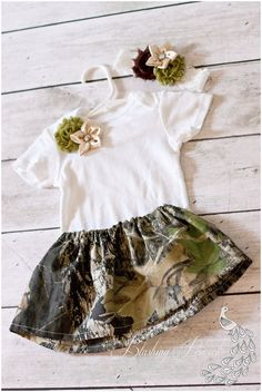 Mossy Oak Camouflage Camo Baby Outfit with Headband