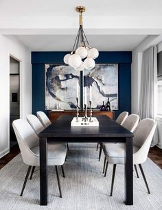 Dining Room Images, Dining Room Wall Decor, Chandelier In Living Room, Dining Room Lighting, Dining Room Sets, Dining Room Design, Dining Room Furniture, Room Decor, Blue Chandelier