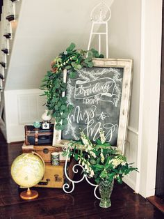 """traveling from miss to mrs"" travel bridal shower welcome sign chalkboard, Adventure Themed Bridal Shower, Travel Theme Party"