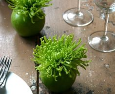 Green apple + flower foam + green spider mum. Would look pretty with a red apple and a pink flower.