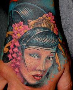 #Realistic #geisha hand tattoo #InkedMagazine #tattoos #Inked