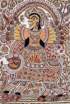Durga | LACMA Collections Durga Maa Paintings, Durga Painting, Spiritual Paintings, Indian Art Paintings, Madhubani Art, Madhubani Painting, Southeast Asian Arts, Kalamkari Painting, Indian Arts And Crafts