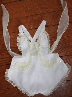VTG 1940's Hand Made Baby Sunsuit - from Philippines - White Ivory - Toddler Baby Sunsuit - 12 to 18M