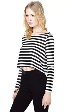 New Women Rock Girl Black and White Stripe Boat/Crew Neck Long Sleeve T-Shirt Short Crop Tee Casual Tops Blouse_T-Shirts & Tanks_TOPS_CLOTHING_The Latest Trends & Fashion Clothing For Women Online Store-www.dressin.com