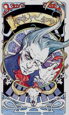 XV - Le diable - Tarot art nouveau par Antonella Castelli