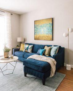 Apartment Design Blue Interior Design - My Website 2020 Blue Couch Living Room, Design Living Room, Living Room Sectional, Home Living Room, Living Room Decor, Blue And Yellow Living Room, Blue Sectional, Navy Couch, Blue Couches