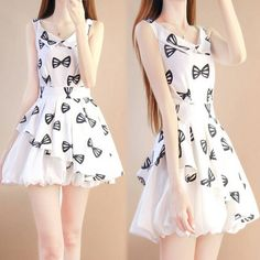 Korean princess sweet bowknot chiffon dress