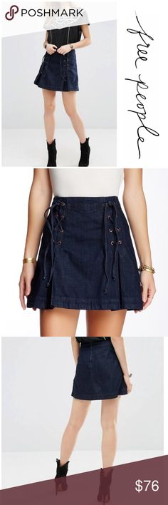 """NWT Free People Denim Lace Up Skirt Brand new with tags free People Denim Lace up skirt. Hook and eye closure on the back with zipper. Measurements laying flat waist 14""""/ length 16"""". Made of 100% cotton. Perfect to pair with tights and boots for fall/winter look. Free People Skirts A-Line or Full"""