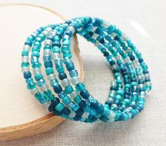 Turquoise Teal Green Beaded Wrap Bracelet Bohemian by JBMDesigns