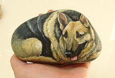 Hand painted rock. German Shepherd, via Flickr.