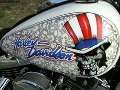 Grim Reaper Design On The Gas Tank Of A Motorcycle