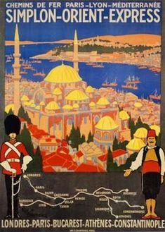 Poster from Chemins de Fer Paris-Lyon-Méditerranée ('PLM') advertising the Simplon Orient Express.