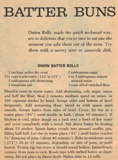 Image detail for -Onion Batter Rolls Recipe – Vintage Clipping | RecipeCurio.com