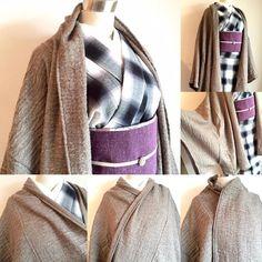 重い古い、着物コートはいらない。 フンワリ羽織れば ドレープ感が美しい。 着物カーティガンコート。 詳細は本日21時〜の新作発表にて。 #着物コーディネート#着物コート#カーディガンコート#きもの#着物#kimonomodern