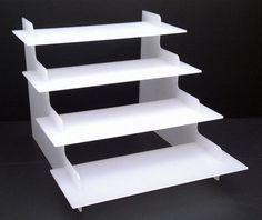 4 STEP WHITE ACRYLIC DISPLAY PRODUCT RETAIL DISPLAY COUNTER STAND PERSPEX | eBay