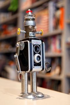 has an incredible collection of toy and folk art robots