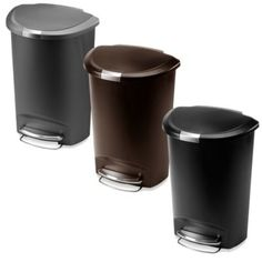 simplehuman® 50-Liter Semi-Round Plastic Step Trash Can - BedBathandBeyond.com  Best trash can to keep out little people! Well worth the money to not have to constantly keep them out of the trash or keep your can outside!