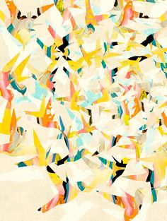 Color Migration on Cream art print by COZAMIA  #art, #decor, #cozamia | LOVE this artist for colorful interesting prints with HUGE style impact