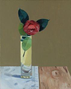 Camellia in Tall Glass Vase by Gabriella Soraci