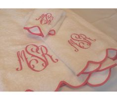 La Scallop Monogrammed Shower Curtain At The Pink Monogram