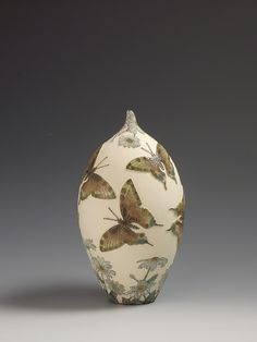 Swallow tailed butterflies & Ox-eye Daisy flower ceramic sgraffito vessel
