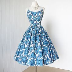 vintage 1950's dress ...gorgeous JERRY GILDEN new york blue gingham floral w/blue rhinestones full skirt pin-up dress on Etsy, $235.45 AUD