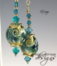 Artisan crafted earrings - teal and gold lampwork and crystal