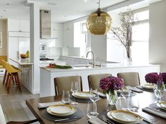 Manhattan home featured in New York Spaces magazine incorporates Niche modern pendant light. Modern Pendant Light, Dining Room Design, Niche Modern Pendant, Dining Room Lighting, Modern Pendant, Custom Kitchen, Modern Hanging Lamp, Niche Modern, Nyc Interior Design
