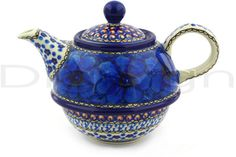 Polish Pottery 22 oz Tea or Coffee Pot | Boleslawiec Stoneware | Polmedia H8574F
