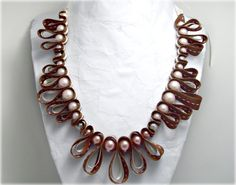 Neapolitan beaded ribbon necklace Chocolate by AlyxAndreaDesign, $28.00