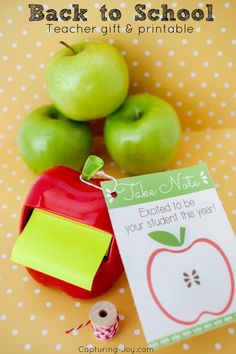 Back to School Teacher apple gift idea and printable. Simple and sweet teacher gift ideas.   Capturing-Joy.com