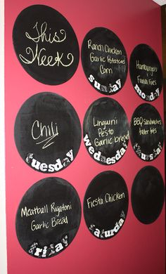 Here's the menu board I made in our entryway next to the kitchen. I am pleased with how it turned out! I heart circles :)