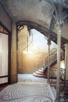 amazing Art Nouveau tile & painting work,  entrance, entrance hall, entry, entryway, entry way, foyer, front hall, front door, hall, hallway, stair hall, hallway, stairwell, staircase, stairs, interior design, #interiors, #home, #decorate