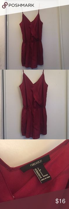 Forever 21 Burgundy Romper (S)  Forever21 (S) ! It is a romper! Picture is showing front and back. I cannot try this on. I can't fit it anymore. Please use the bundle feature! It'll save you so much money! ❤️ Forever 21 Dresses